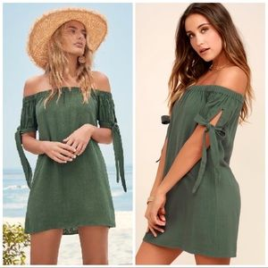 Lulus Al Fresco Evenings Olive Off Shoulder Dress